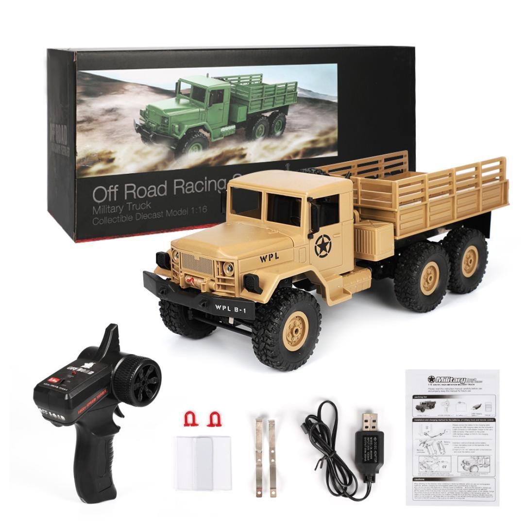 Sisit WPL B-16 1:16 4WD RC Militär LKW Kabellos Fernbedienung Steuerung Auto Spielzeug (Khaki)
