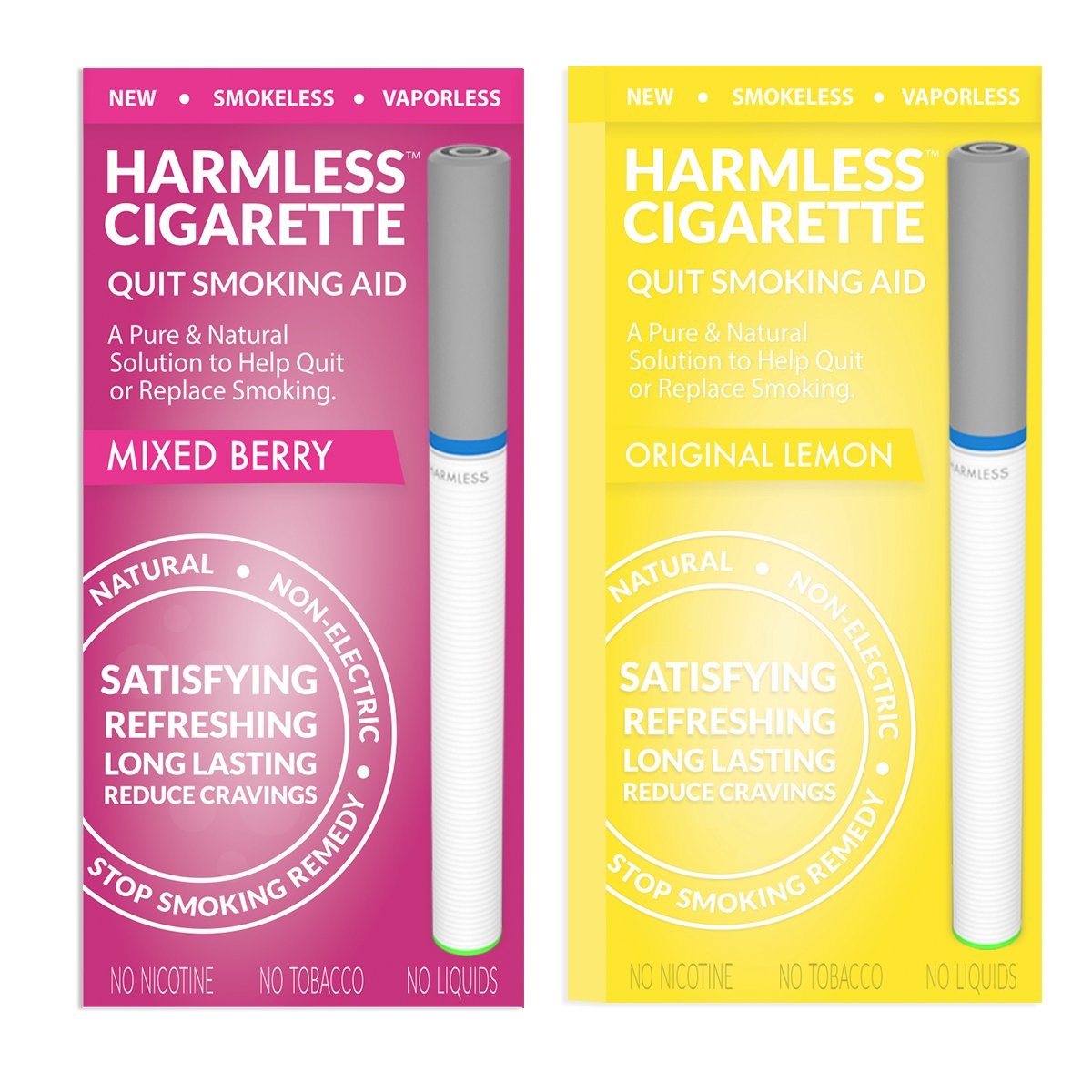 Harmless Cigarette | New Smoking Cessation Product To Help You Quit Smoking Easy & Naturally. Now Better Than Patches, Gum, Pills, Spray, Lozenges, Tea & Magnet. (2 Pack, Original Lemon/Mixed Berry)