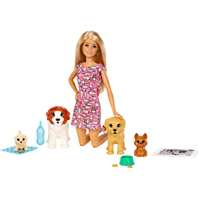Barbie Doggy Daycare Doll, Blonde, and Pets Playset with Puppy that Poops and One that Pees, Plus Color-Change Paper and More: Toys & Games