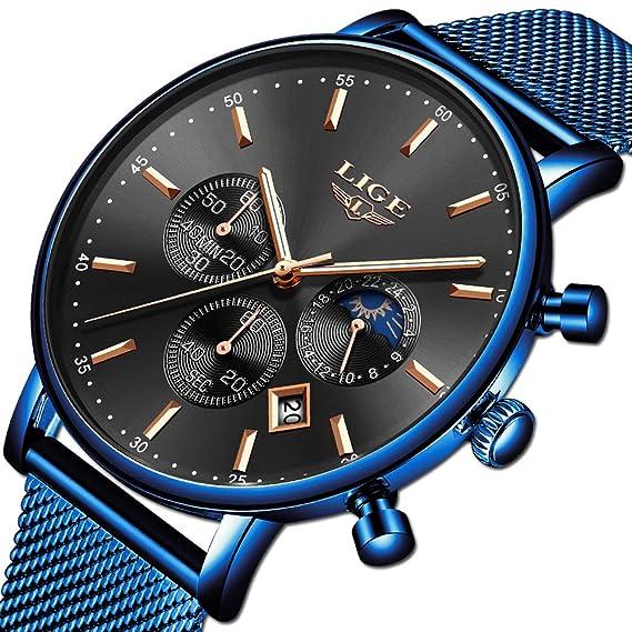 Reloj de Hombre La Moda Impermeable Reloj de Acero Inoxidable Ocio Los Deportes Relojes de Cuarzo analógicos Marca Hombre LIGE Multifuncional Militar ...