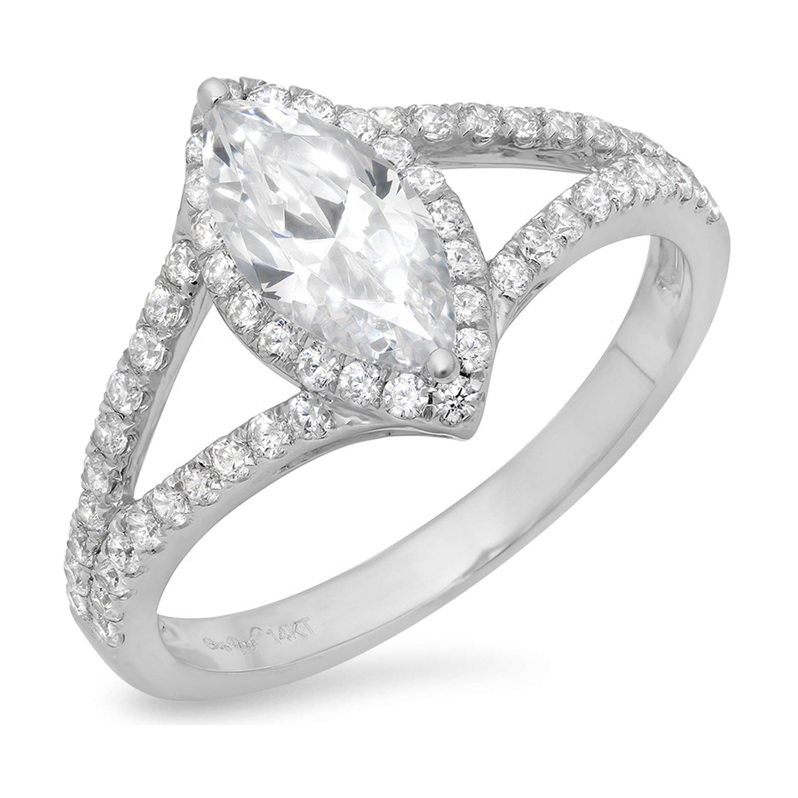 1.14ct Marquise Cut Solitaire split shank Halo Quality Lab Created White Sapphire Ideal VVS1 D & Diamond Simulant Engagement Promise Statement Anniversary Bridal Wedding Ring 14k White Gold, Size 8.75