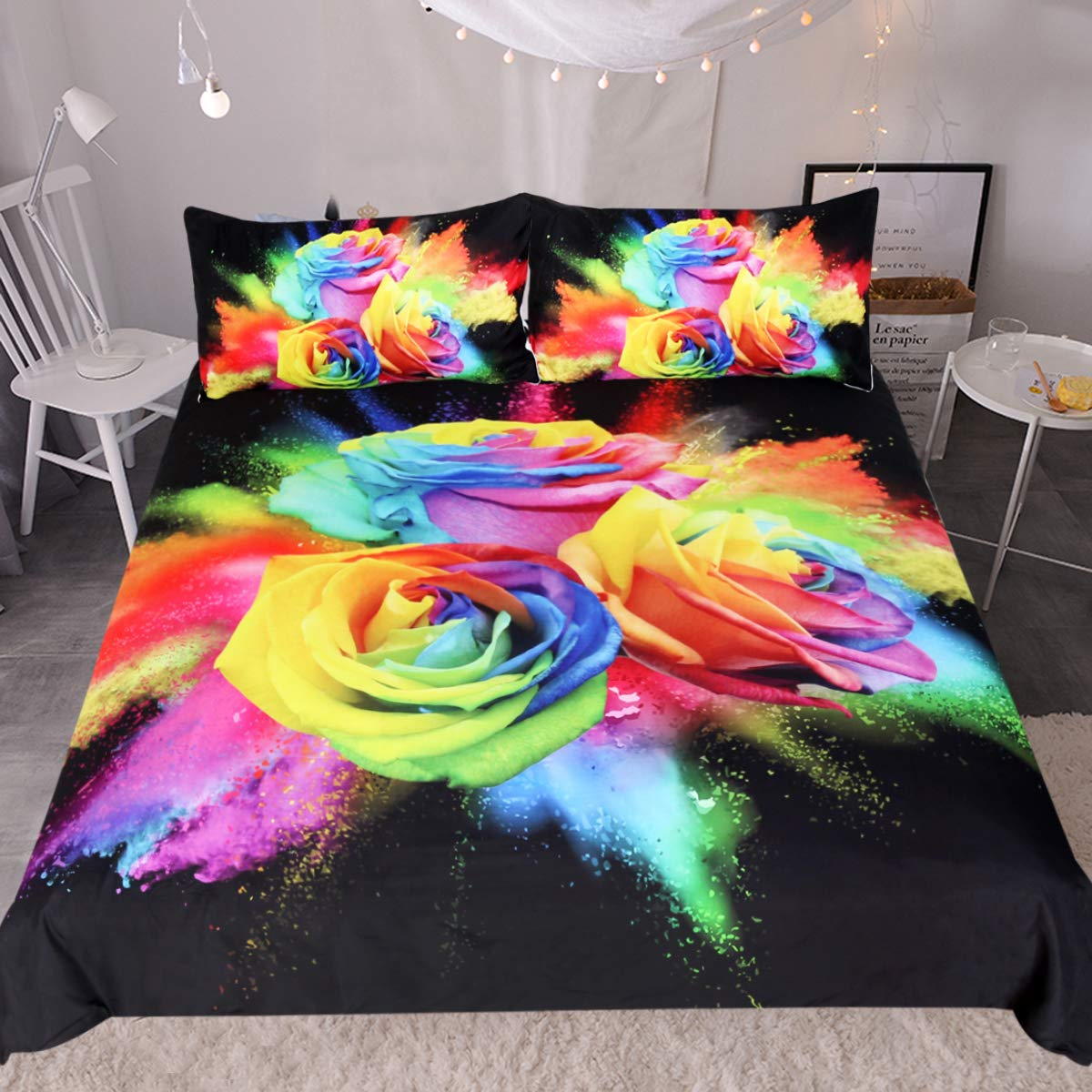 Sleepwish Rainbow Rose Bedding Set 3 Piece Colorful Flowers Duvet Cover Hippie Bedspread Black Chic Bedding for Women (Twin)