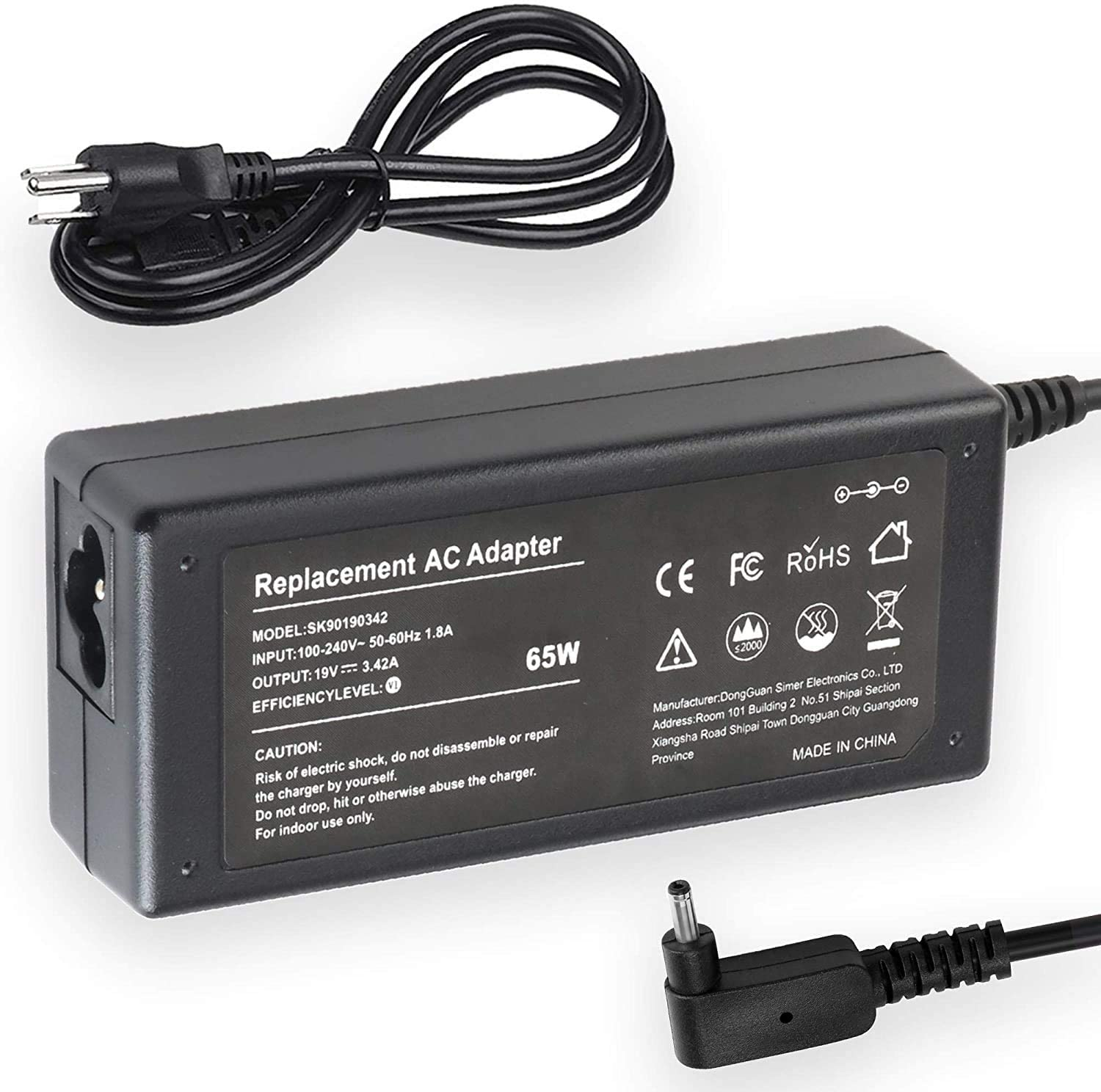 AC Adapter Charger for Acer Chromebook 15 CB5-571-C4T3, CB5-571-C09S; Acer Chromebook 15 CB5-571-C1DZ; Acer Chromebook 15 C910-C453, C910-54M1 Laptop Notebook Battery Power Supply Cord Plug