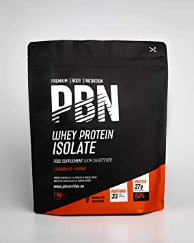 PBN - Premium Body Nutrition - Aislado de proteína de suero de leche en polvo (Whey-ISOLATE), 1 kg, sabor fresa (33 porciones)