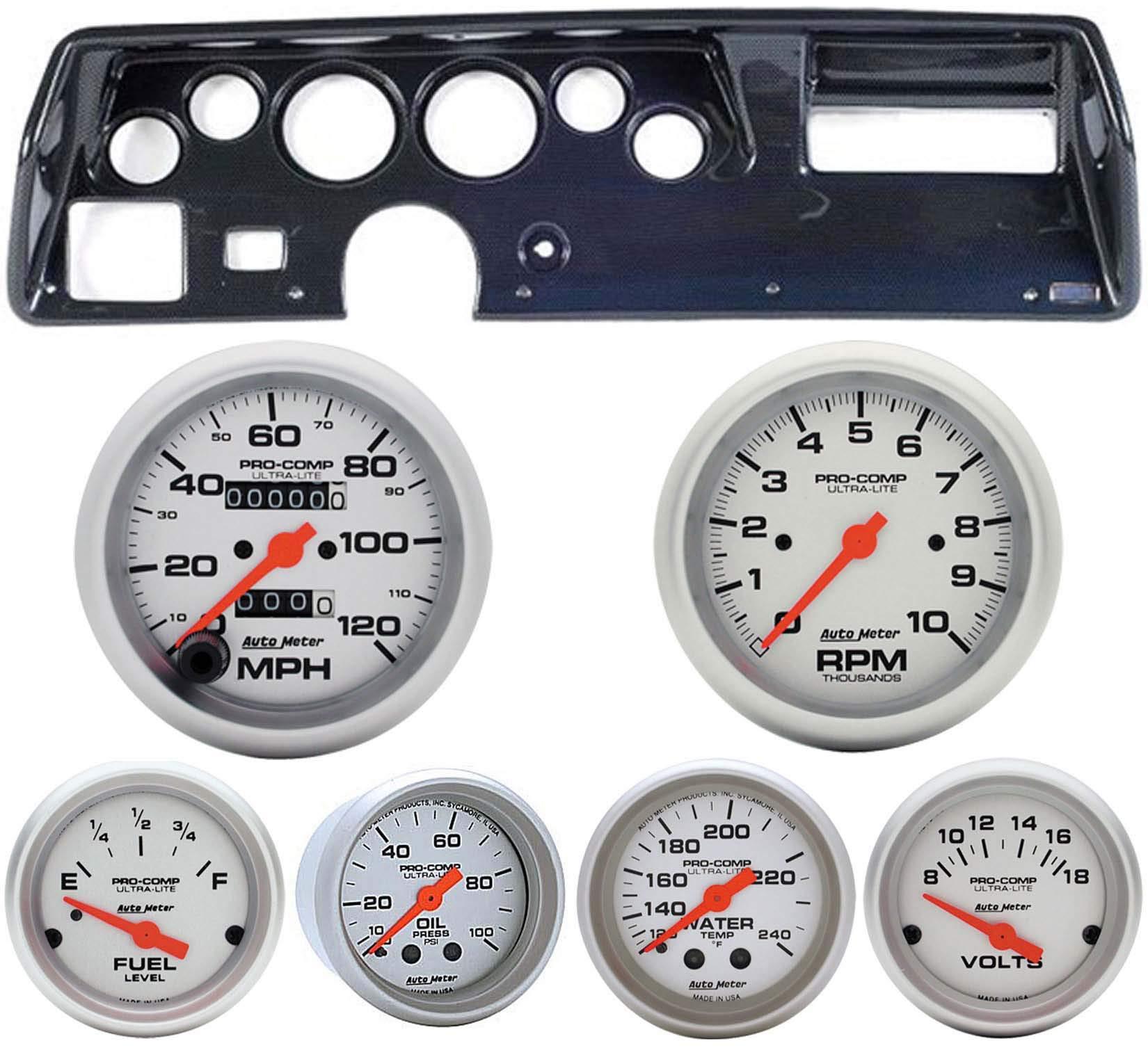 70-72 Chevelle SS Carbon Dash Carrier w/Auto Meter Ultra Lite Mechanical Gauges
