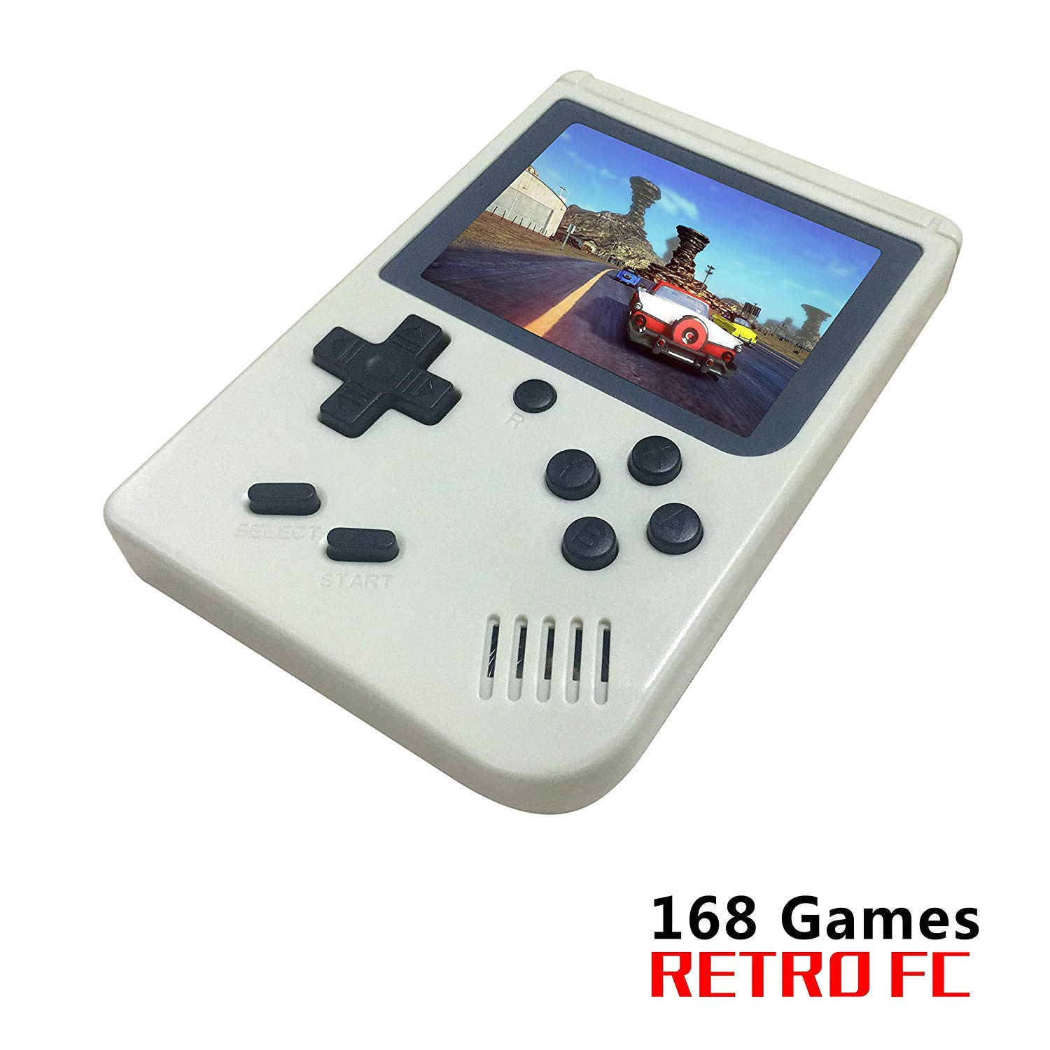 FLYFISH Handheld Game Console, Retro FC Game Console 3 Inch 168 Classic Games , Birthday Present for Children -White