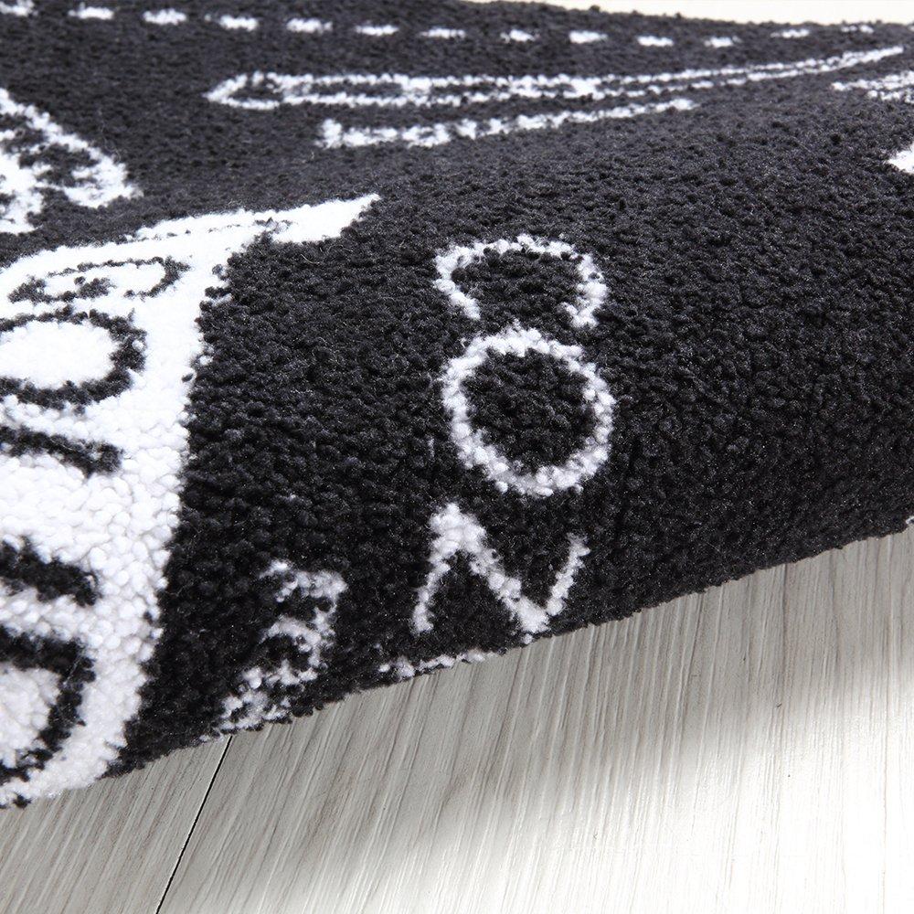 Carvapet 2 Piece Microfiber Non-Slip Kitchen Mat Rubber Backing Doormat Runner Rug Set, Cozinha Design (Black 15''x47''+15''x23'') by Carvapet (Image #3)