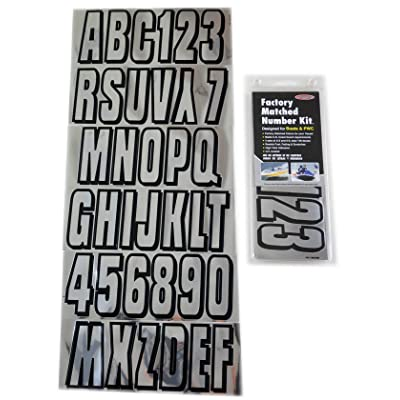 Hardline Products Series 320 Factory Matched 3-Inch Boat & PWC Registration Number Kit, Chrome/Black: Automotive