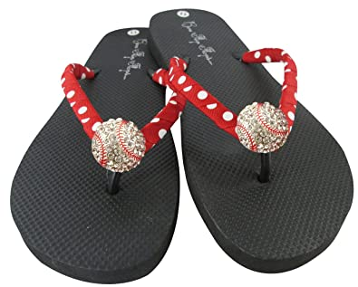 74b032fa4c7ca Image Unavailable. Image not available for. Color  Baseball Flip Flops with  Rhinestone Bling Sandals (9 M ...