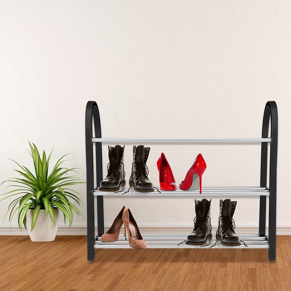 Organizador de Calzado Almacenamiento Pl/ástico Aluminio Estante de Zapato de Metal Estante de Almacenamiento de Zapatos de Bricolaje Hogar Armario Gabinete de Entrada N 50*19*42CM