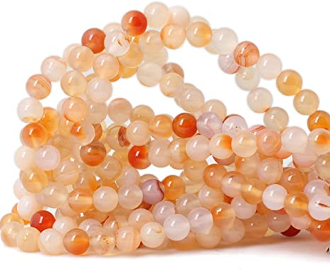 Pcs Gemstones Jewellery Making Crafts Carnelian Round Beads 8mm Orange//White 45