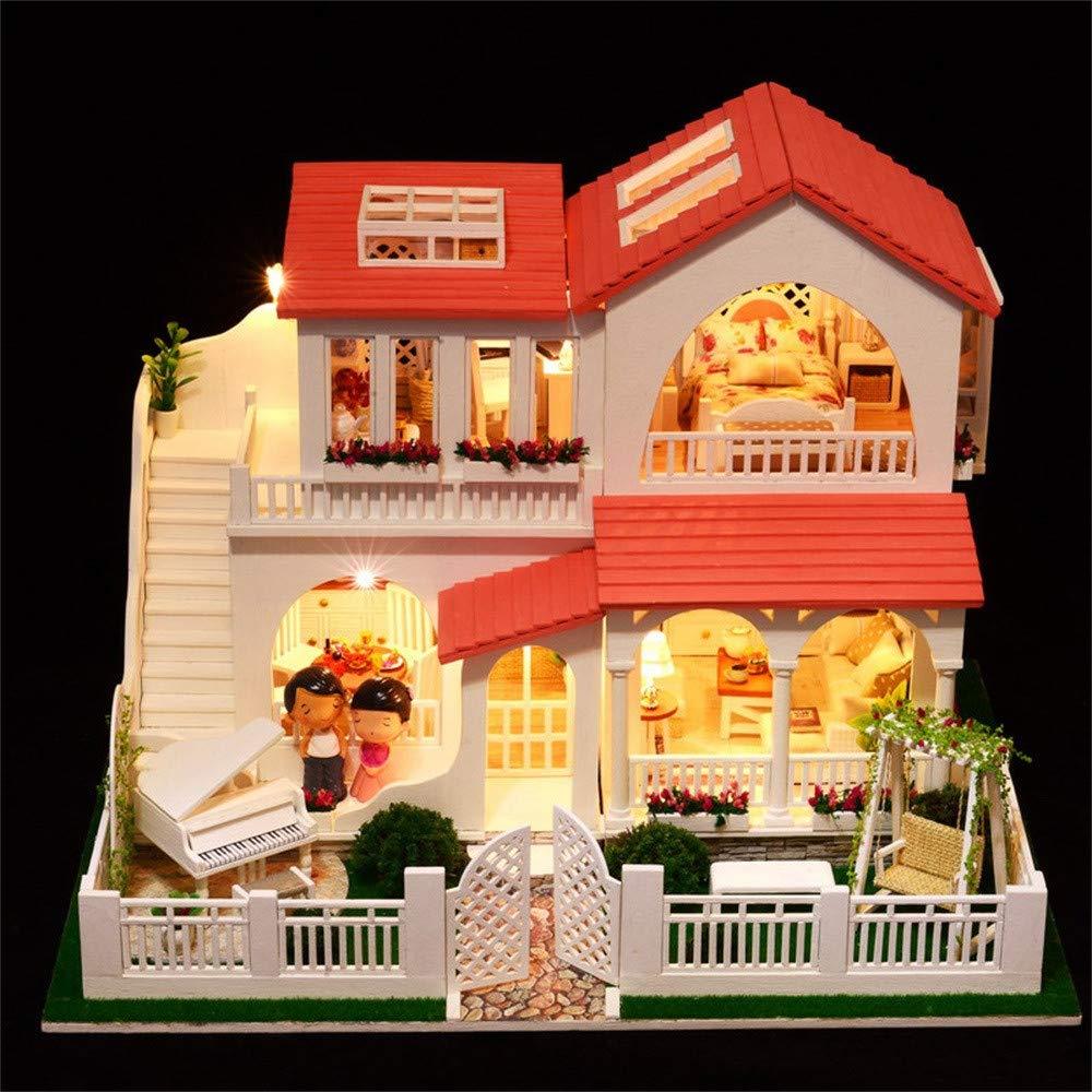 Fcostume DIY Weißnachten Haus montieren Miniatur Puppenhaus LED Möbel Kit (As Shown) As shown