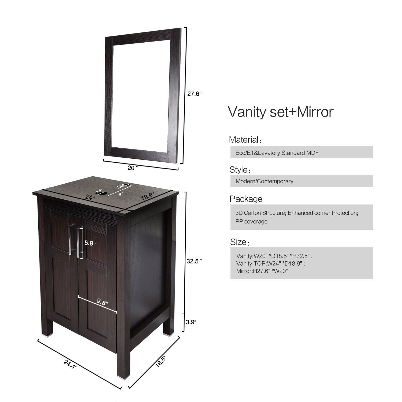 "Elecwish 24"" Bathroom Vanity Modern Stand Pedestal Cabinet Wood"