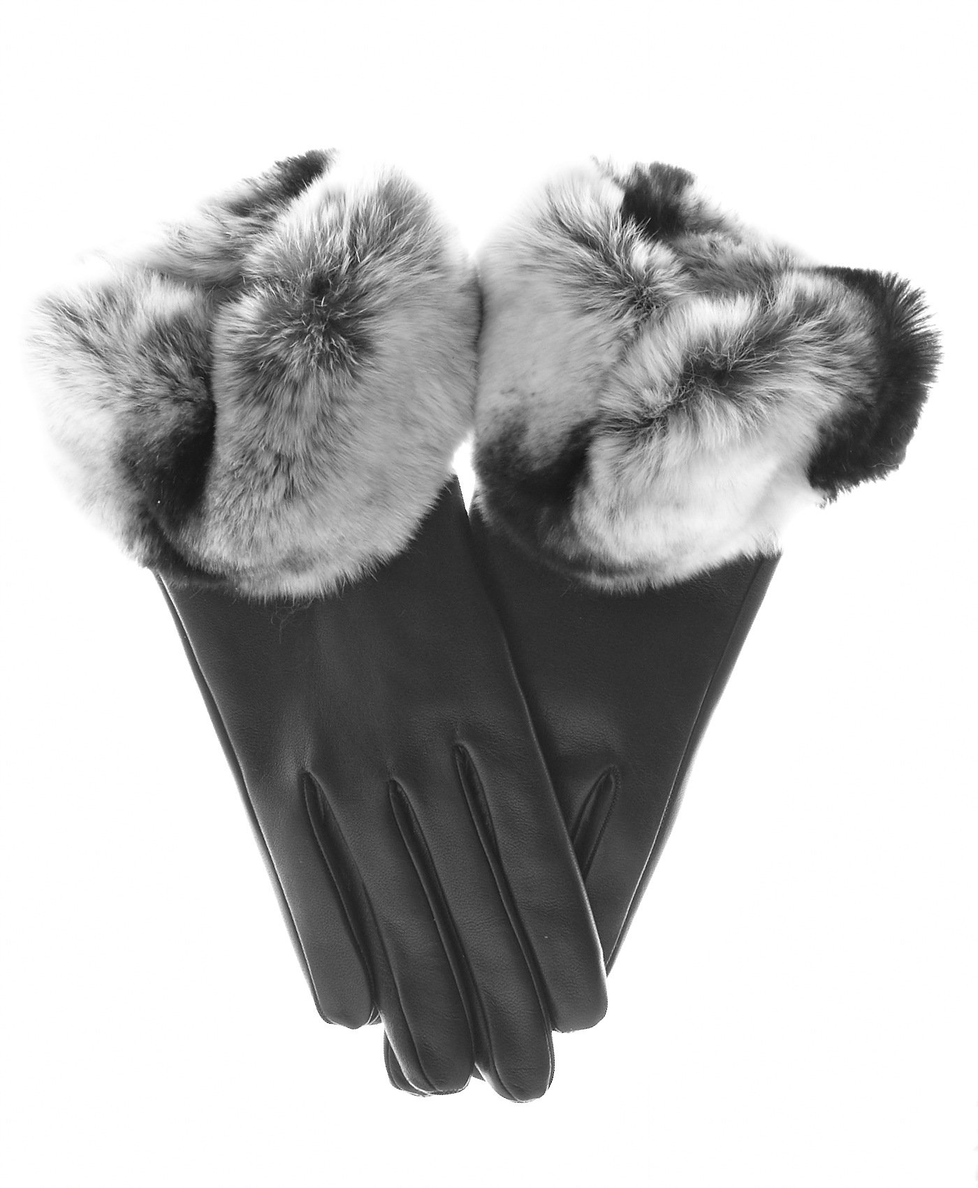 Fratelli Orsini Women's Rex Rabbit Fur Cuff Cashmere Lined Winter Leather Gloves Size 8 1/2 Color Black