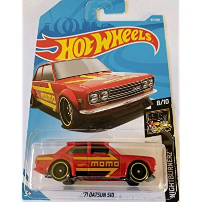 Hot Wheels 2020 Nightburnerz 8/10 - '71 Datsun 510 (Red): Toys & Games