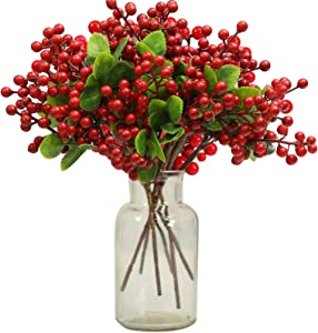 INFLORAL 16 Pack Christmas Artificial Red Berry Stems Christmas Holly Red Berries Branches for Christmas Tree Decorations,Christmas Wreath,Holiday,Home Decor
