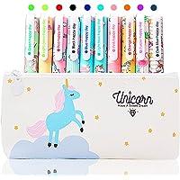 10 Lápices Bolígrafos de Unicornio con Estuche de Regalo Escolar para Niñas Edad 3 4 5 6 7 8 9 10 Años, TOYESS…
