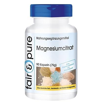 90 cápsulas de citrato de magnesio, Orgánico y con buena disponibilidad biológica, Sustancia pura