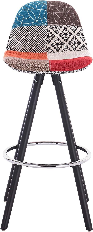WOLTU/® Lot de 2 Tabouret de Bar en Lin si/ège Tabouret de Cuisine avec Repose-Pied,Patchwork Pied Noir BH122mf-2