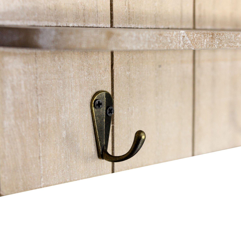 Organizador de pared – Tabla con pizarra, tablero para llaves y 2 compartimentos de madera, 61 x 50 x 6 cm, madera – Pizarra, perchero, decoración