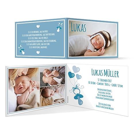 10 St/ück - Schnuller Geburtskarten Geburt Babykarten M/ädchen Jungen Foto Karten in Blau