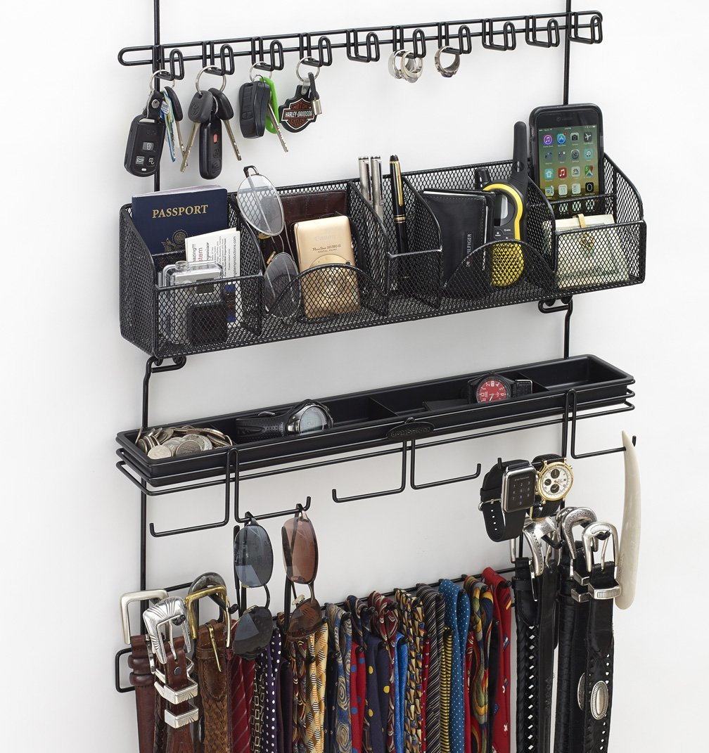 Longstem Men's #9200 Over the Door/Wall Belt Tie Valet Organizer - beautiful BLACK powder coat- see our #9100 5 star reviews! men's organizer Patented - Rated Best! by Longstem