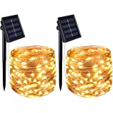 AMIR Solar Powered String Lights, Mini 100 LED Copper Wire Lights, Waterproof Starry String Lights, Indoor Outdoor Solar Decoration Lights for Gardens, Patios, Homes, Parties (Warm White-Pack of 2)
