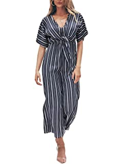 ad44df1eb41 Miessial Women s V Neck Wide Leg Striped Jumpsuit Short Sleeve Palazzo Romper  Jumpsuit