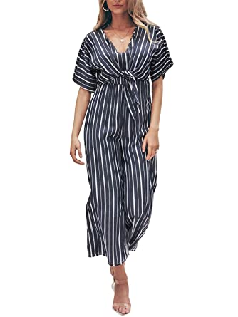 a0631b18c1b Miessial Women s V Neck Striped Jumpsuit Short Sleeve Tie Waist Elegant  Palazzo Romper Navy Blue 12