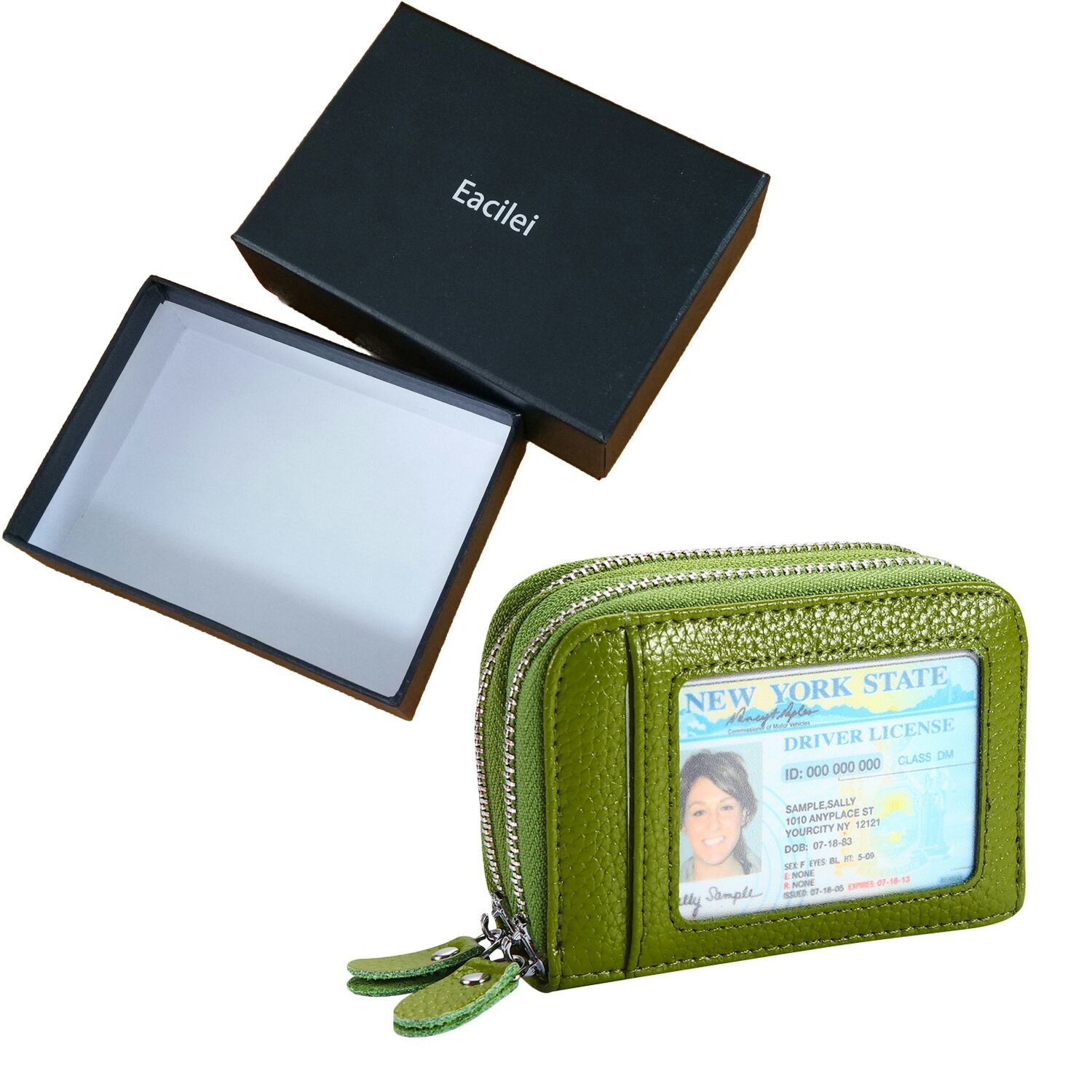 RFID Blocking Leather Wallet Women/Women's Credit Card Holder/Protector with Coin Zipper Pocket - Small Purse (Green)