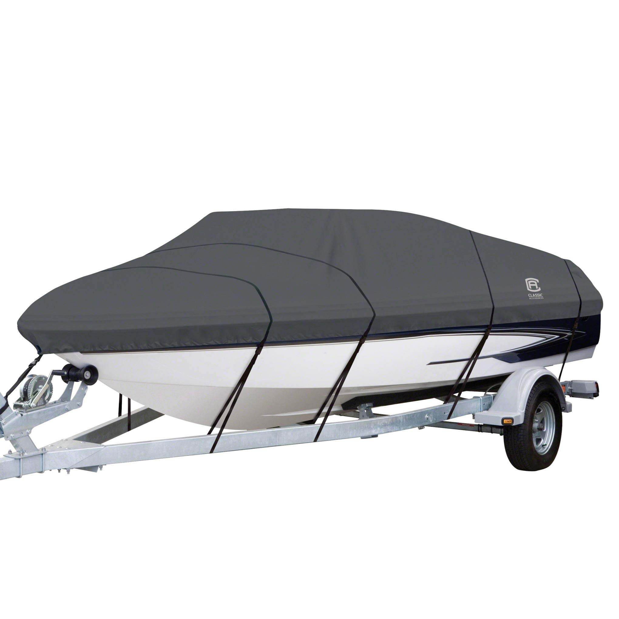Classic Accessories StormPro Heavy Duty Boat Cover With Support Pole For V-Hull Runabouts, For 17' - 19' L Up to 102'' W by Classic Accessories