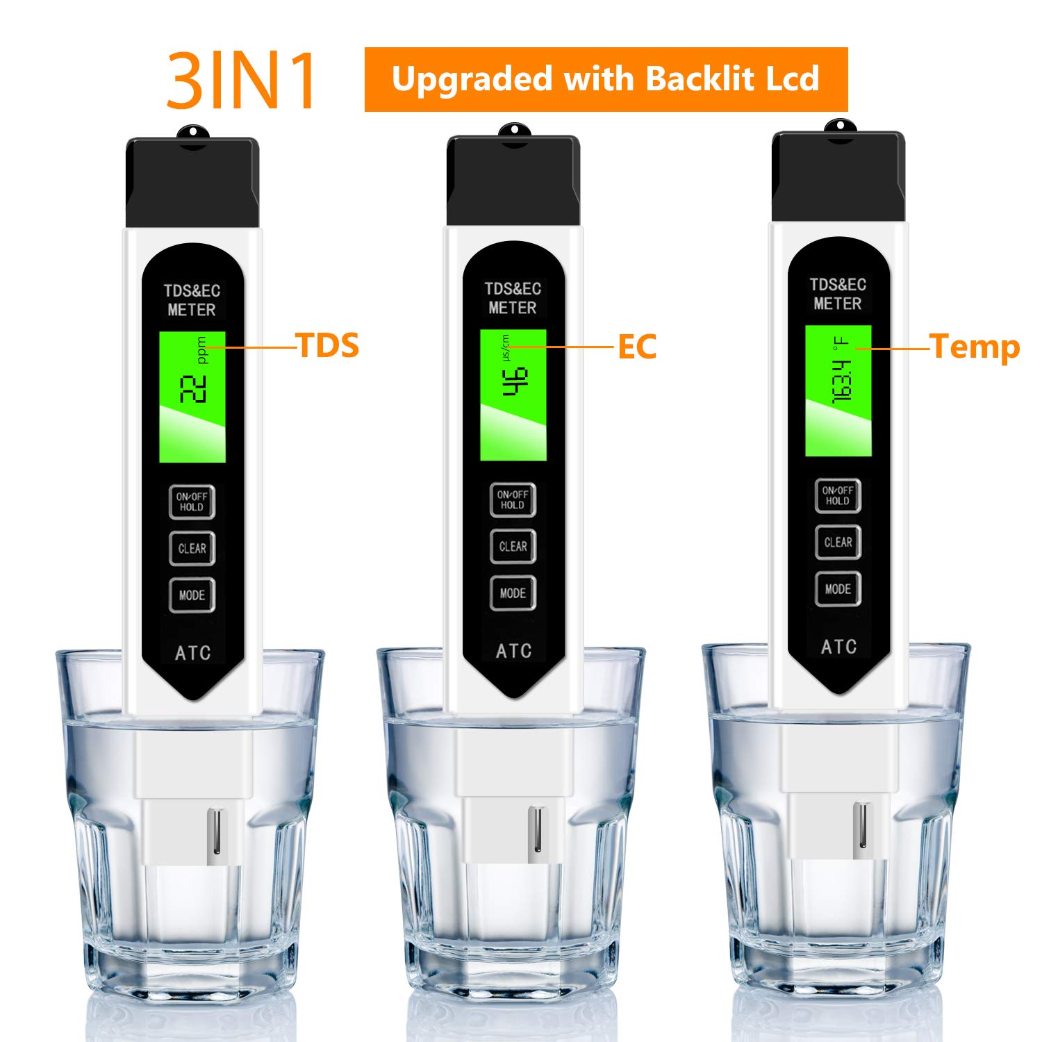 TDS01 3-in-1 TDS//EC//Temp Meter 0-9999ppm White Ideal Water Quality Test Kit with Carrying Case Seakcoik TDS Meter Digital Water Tester