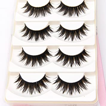 6da56d5e7d5 Amazon.com : Misright 5 Pairs Makeup Long Black Natural Handmade Thick Soft  False Eyelashes Eye Lashes : Beauty