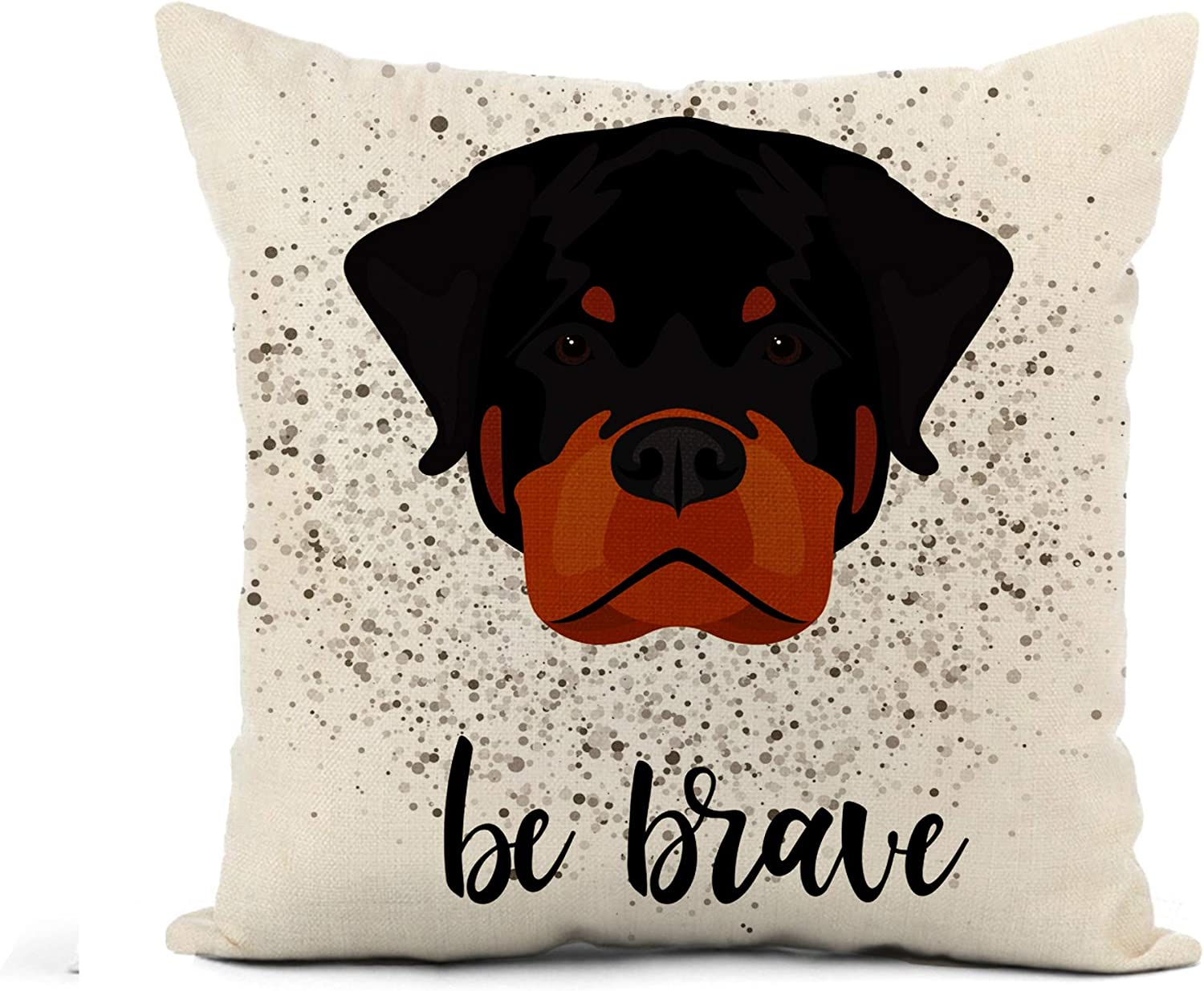 Awowee Flax Throw Pillow Cover Abstract Rottweiler Dog Head Cartoon Black Portrait Pattern Veterinary 20x20 Inches Pillowcase Home Decor Square Cotton Linen Pillow Case Cushion Cover