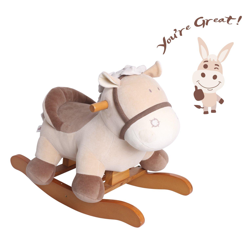 Labebe Child Rocking Horse Toy, Stuffed Animal Rocker Toy, Khaki Donkey Printed Wooden Rocking Horse for Kid 1-3 Years, Kid Rocking Horse/Rocker Animal/Toddler Rocking Horse/Plush Rocking Horse Figure
