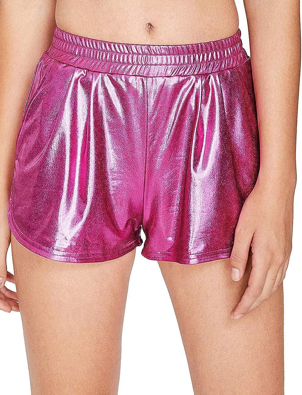 Women's Metallic Shorts Shiny Pants Yoga Sparkly Hot Drawstring Outfit Elastic Waist Rave Booty Dance