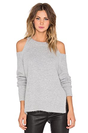 d1138f4650 J.O.A. Cold Shoulder Sweater (L) Grey at Amazon Women s Clothing store