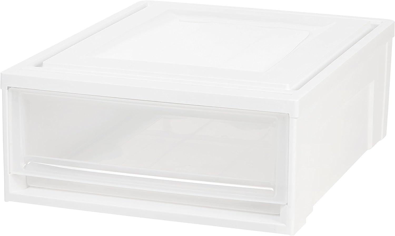 IRIS USA, Inc. 591059 IRIS USA, BC-500S, Shallow Box Chest Drawer, 4 Pack, White, 22 Quart