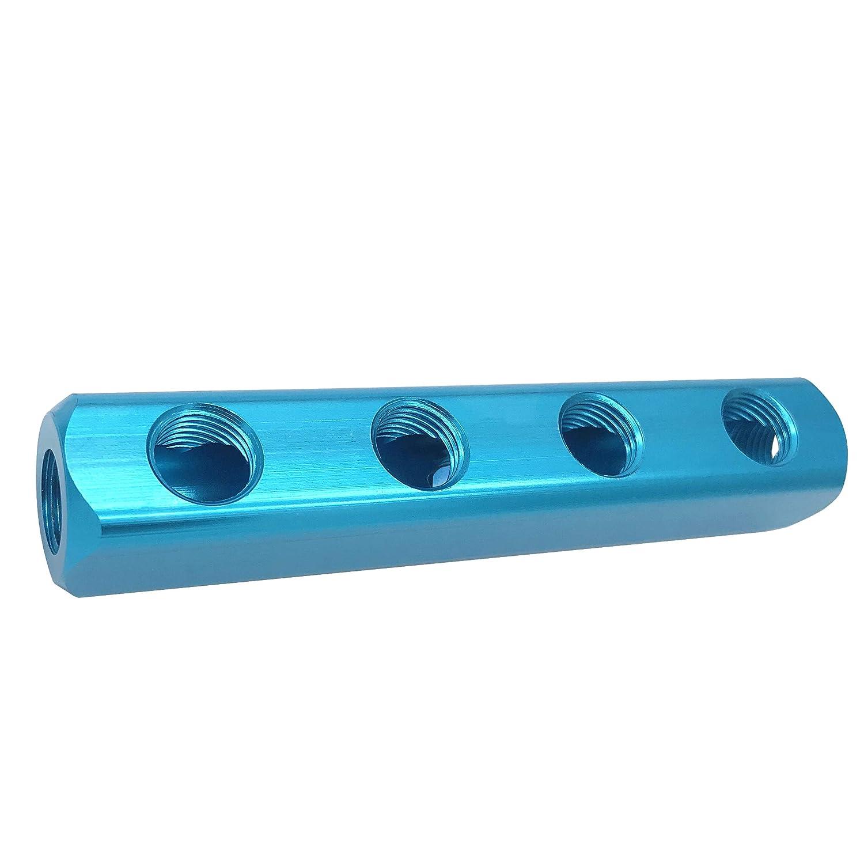 1//4 G Threaded Pneumatic 5 Ports 2 Way Quick Connect Splitter Air Hose Inline Manifold Block Splitter