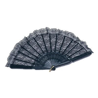 Noir Dentelle ventilateur espagnol Salsa Rumba accessoire Déguisement burlesque Moulin Rouge