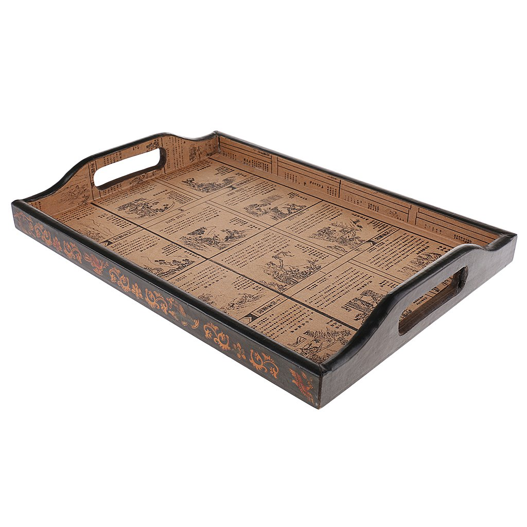 MagiDeal Antique Rectangular Wooden Tray Storage Box Bandeja Wood Solid Food Plate Decoration