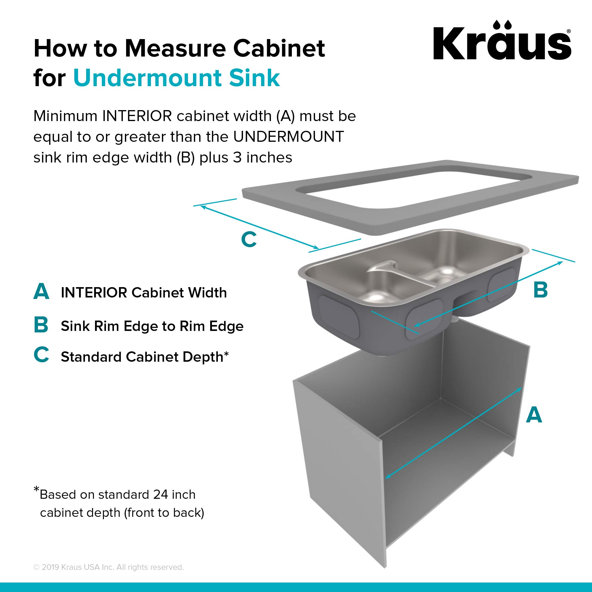 KRAUS KBU32 Premier 32-inch 16 Gauge Undermount 50/50 Double Bowl Kitchen Sink with Smart Low Divider by Kraus (Image #8)