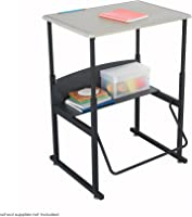 "Safco Products AlphaBetter Adjustable-Height Desk, 1201BE, 28"" x 20"" Standard Desktop, Swinging Footrest Bar"