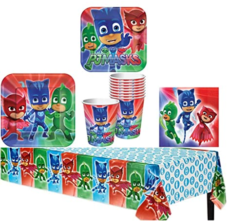 PJ Masks Birthday Party Supplies Bundle Pack for 8 Guests