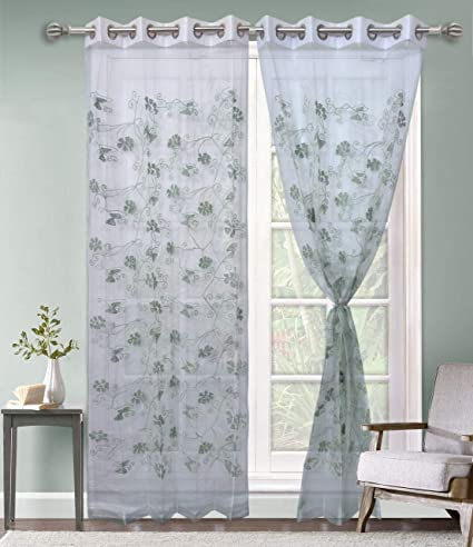 Buy Jvin Fab Tissue Fabric Transparent Wool Embroidery Floral Design Long Door Window Curtains Best Of Every Interior Living Room Bedroom Drawing Room Door Curtain Window Curtain Set Of 1 Pcs