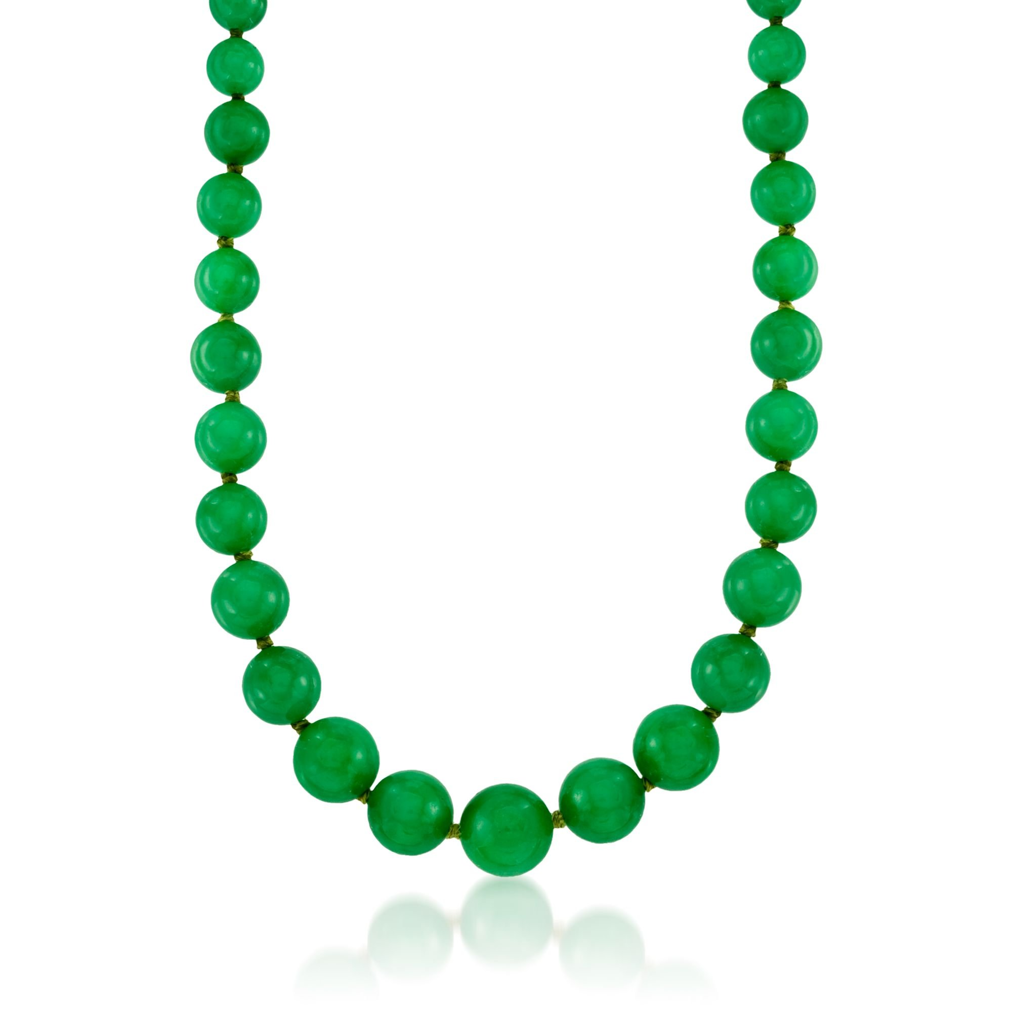 Ross-Simons 7-14mm Jade Bead Necklace With 14kt Yellow Gold by Ross-Simons