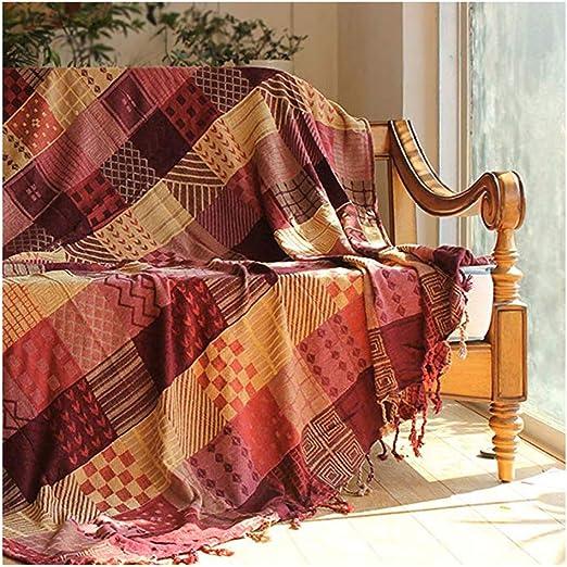 WenFei shop Tejer sofá de la Manta de algodón, decoración Retro ...