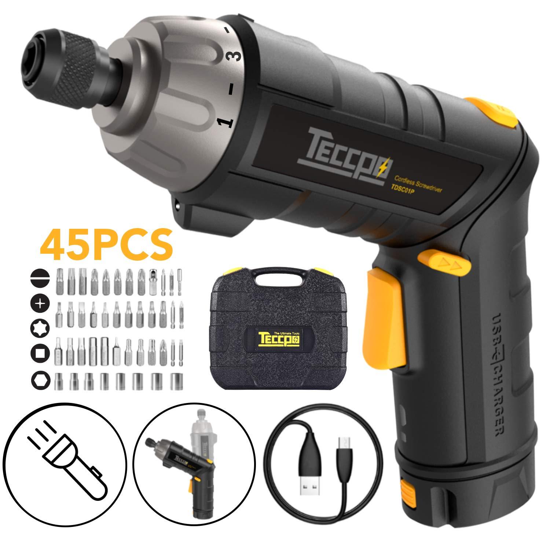 Destornillador, teccpo-tdsc01p Destornillador a batería (recargable ...