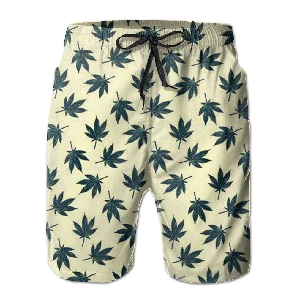 KUXUANO Marijuana Weed Leaf Cool Swim Trunk Guys Polo Boardshort Surfing Board Shorts
