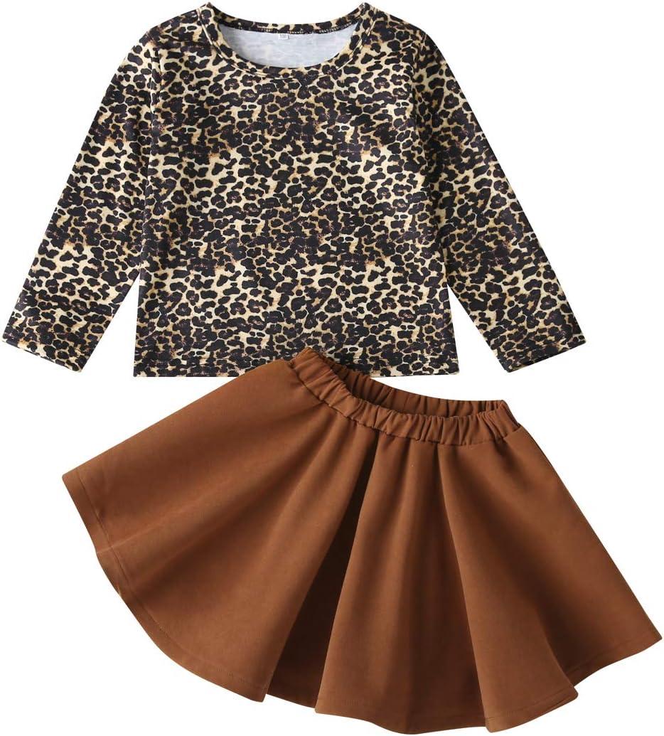مجموعة ملابس للفتيات الصغار الصغار الصغار مجموعة ليوبارد تي شيرت علوي سادة لينة تنورة توتو ملابس الخريف طويلة الأكمام